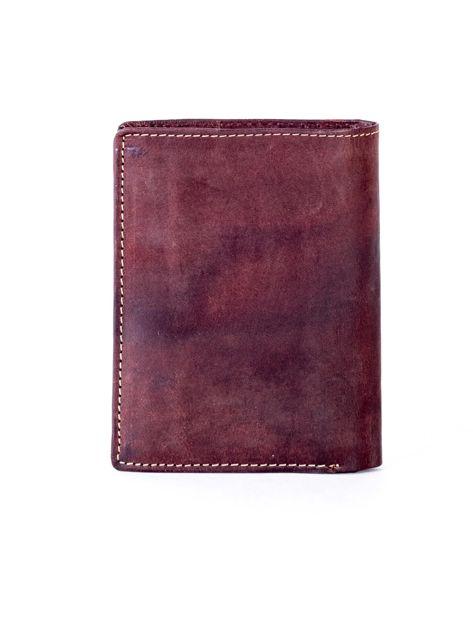 Brązowy skórzany portfel z pionowym tłoczeniem                              zdj.                              2