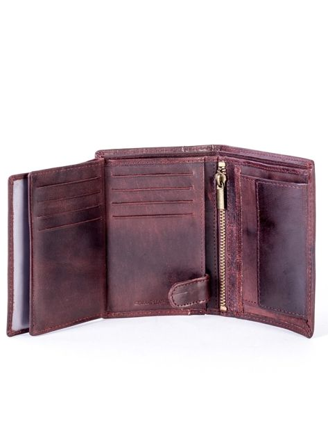 Brązowy skórzany portfel z pionowym tłoczeniem                              zdj.                              6