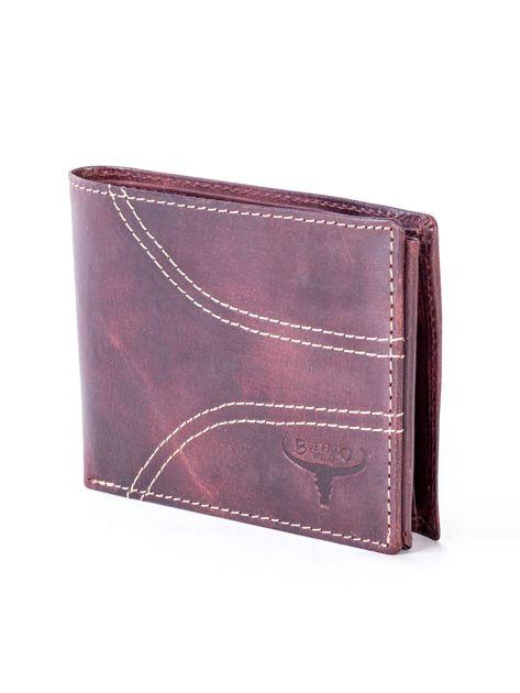 Brązowy skórzany portfel z symetrycznymi przeszyciami                              zdj.                              3