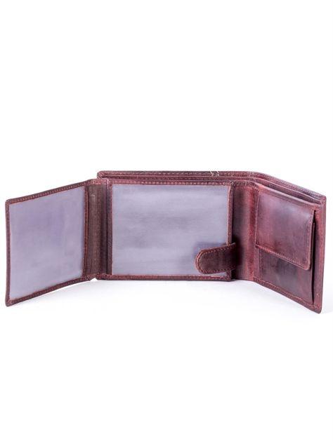 Brązowy skórzany portfel z symetrycznymi przeszyciami                              zdj.                              5