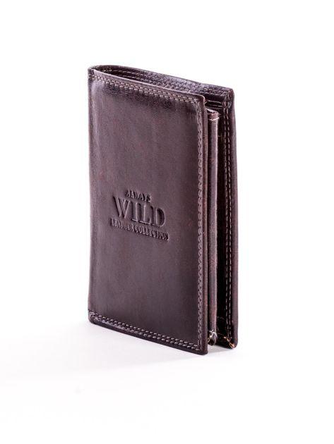 Brązowy skórzany portfel z tłoczonym logiem                              zdj.                              3