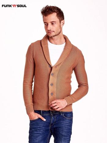Brązowy sweter męski zapinany na guziki FUNK N SOUL