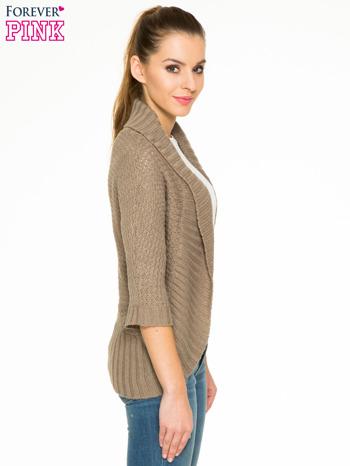 Brązowy sweter narzutka z rękawem 3/4                                  zdj.                                  3
