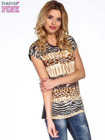 Brązowy t-shirt z motywem zwierzęcym                                  zdj.                                  3