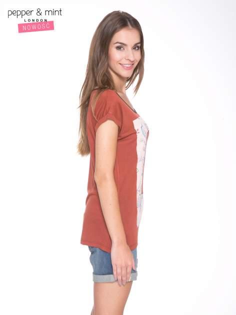 Brązowy t-shirt z nadrukiem PASSION                                  zdj.                                  3