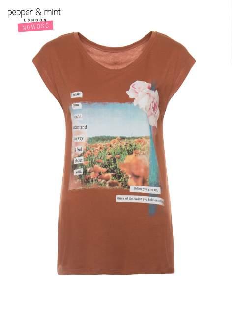 Brązowy t-shirt z nadrukiem w romantycznym stylu                                  zdj.                                  2