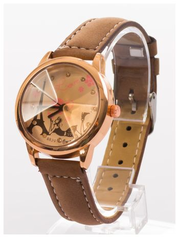 Brązowy zegarek damski z cyrkoniami na skórzanym pasku                                  zdj.                                  3