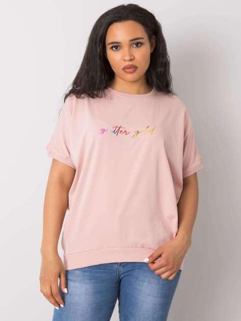Brudnoróżowa bluzka plus size z napisem Jewel