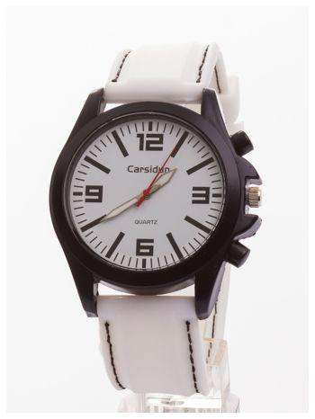 CARSIDUN Biały męski zegarek. Bardzo wygodny z silikonowym paskiem.