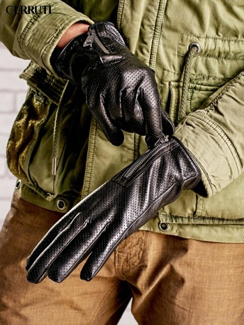 CERRUTI Czarne rękawiczki męskie z suwakami                                  zdj.                                  3