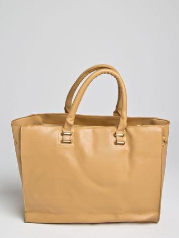 Camelowa torba shopper bag z rączką                                  zdj.                                  1