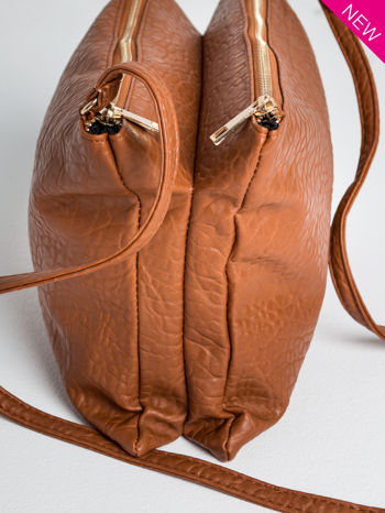 Camelowa torebka dwukomorowa z paskiem                                  zdj.                                  6