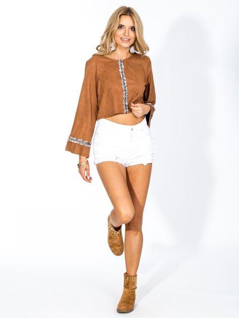 Camelowa zamszowa bluzka z szerokimi rękawami                                  zdj.                                  2