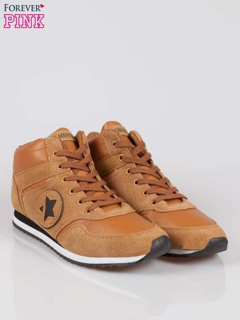 Camelowe buty sportowe faux suede Stylish z imitacji zamszu                                  zdj.                                  2