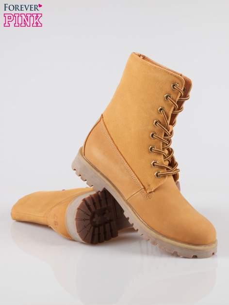 Camelowe wysokie buty trekkingowe traperki damskie ze skóry naturalnej                                  zdj.                                  4