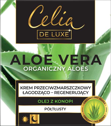 """Celia De Luxe Aloe Vera Półtłusty Krem przeciwzmarszczkowy łagodząco-regenerujący na dzień i noc 50ml"""""""