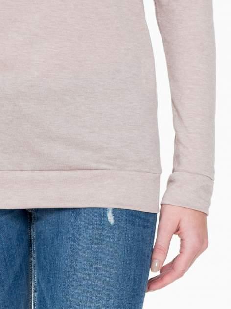 Ciemnobeżowa bawełniana bluzka z rękawami typu reglan                                  zdj.                                  6