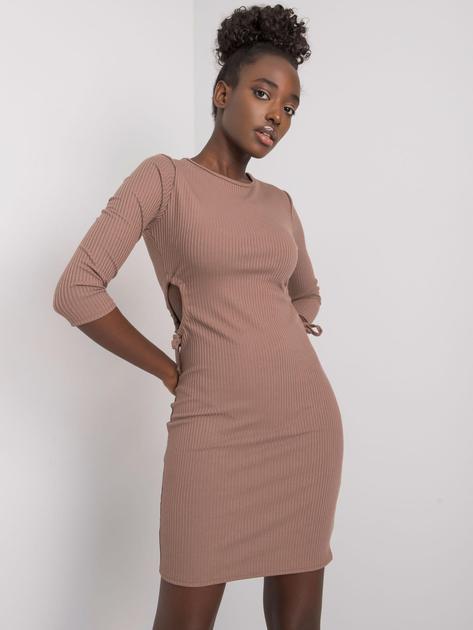 Ciemnobeżowa dopasowana sukienka w prążek Zoey