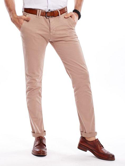 Ciemnobeżowe bawełniane spodnie męskie chinosy                                   zdj.                                  1