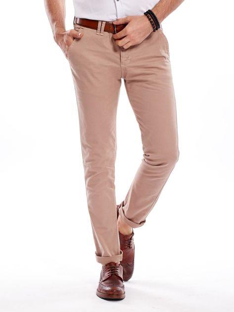 Ciemnobeżowe bawełniane spodnie męskie chinosy                                   zdj.                                  6