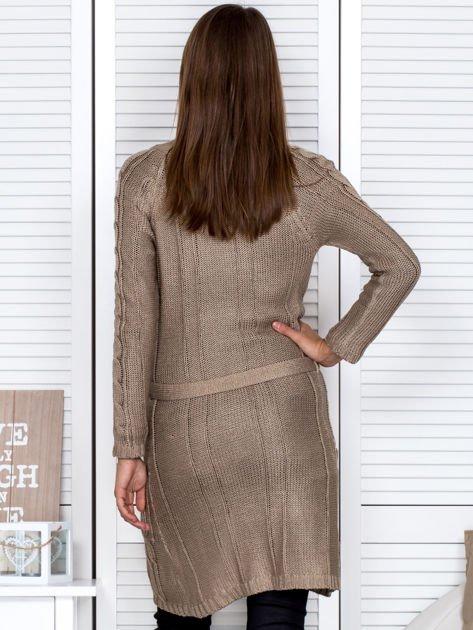 Ciemnobeżowy ażurowy długi sweter typu kardigan z paskiem                                  zdj.                                  2