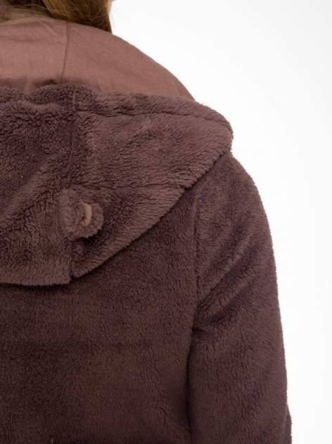 Ciemnobrązowa polarowa bluza miś z kapturem z uszkami i pomponami                                  zdj.                                  15