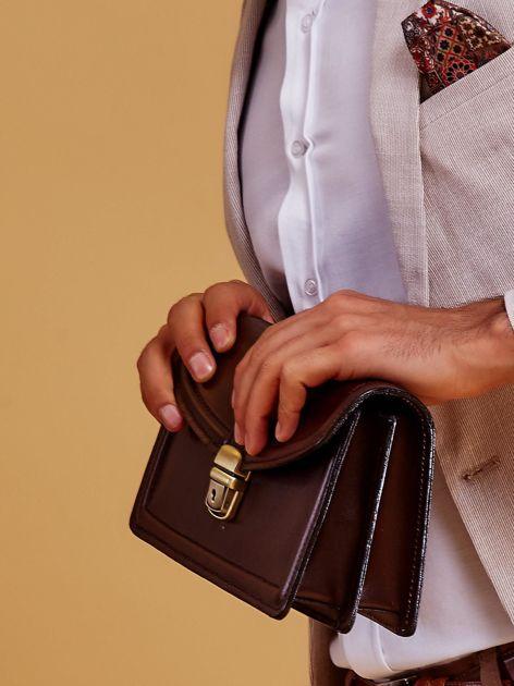 Ciemnobrązowa skórzana torba męska z uchwytem