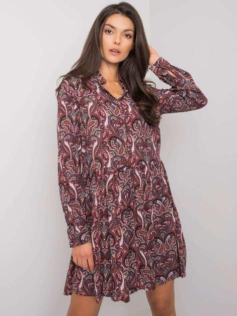 Ciemnobrązowa sukienka z printami Alannah FRESH MADE