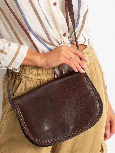 Ciemnobrązowa torebka ze skóry naturalnej                              zdj.                              2