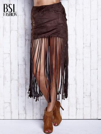 Ciemnobrązowa zamszowa spódnica z frędzlami                                  zdj.                                  1