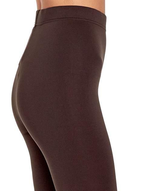 Ciemnobrązowe legginsy basic z lekkim ociepleniem                                  zdj.                                  6