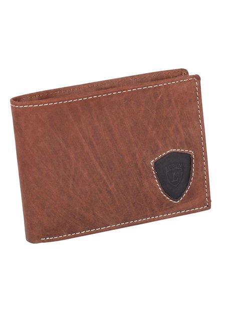 Ciemnobrązowy portfel męski ze skóry z emblematem                               zdj.                              2