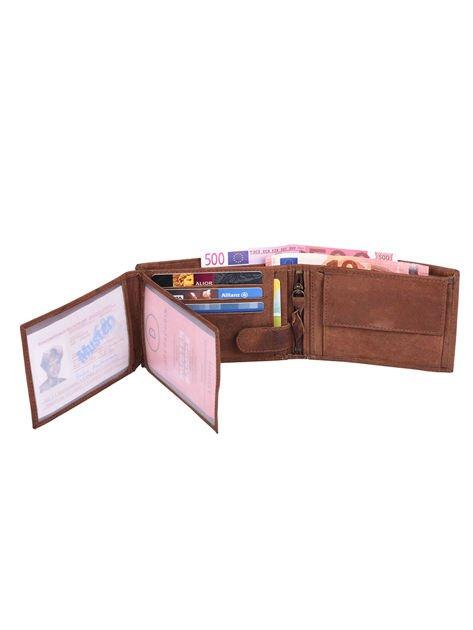 Ciemnobrązowy portfel męski ze skóry z emblematem                               zdj.                              5