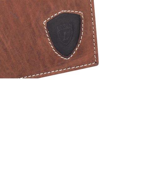 Ciemnobrązowy portfel męski ze skóry z emblematem                               zdj.                              8