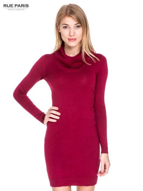 Ciemnoczerwona swetrowa sukienka z golfem                                  zdj.                                  1