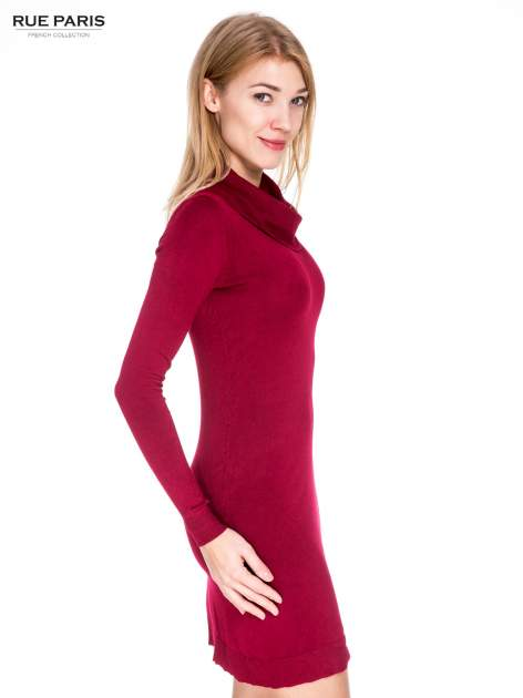 Ciemnoczerwona swetrowa sukienka z golfem                                  zdj.                                  3