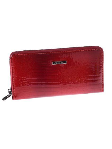 Ciemnoczerwony długi portfel skórzany crocodile skin na suwak