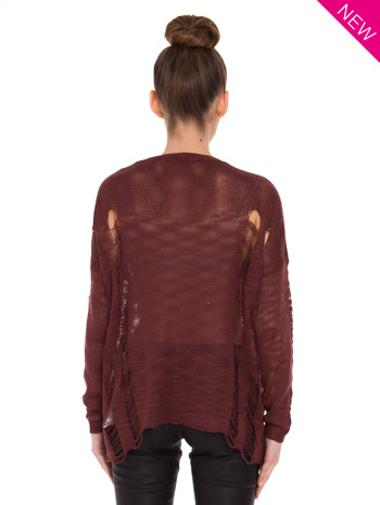 Ciemnoczerwony sweter z nadrukiem i efektem destroyed                                   zdj.                                  3