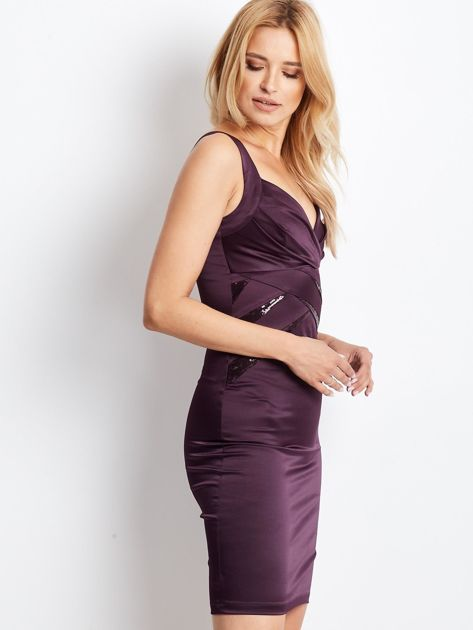Ciemnofioletowa sukienka z cekinowymi wstawkami                              zdj.                              2
