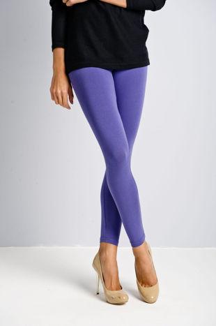 Ciemnofioletowe legginsy bawełniane z gumką w pasie                                  zdj.                                  2