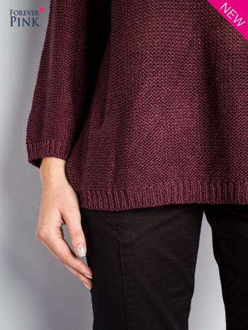 Ciemnofioletowy sweter bawełniany z oczkami na ramionach                                  zdj.                                  3
