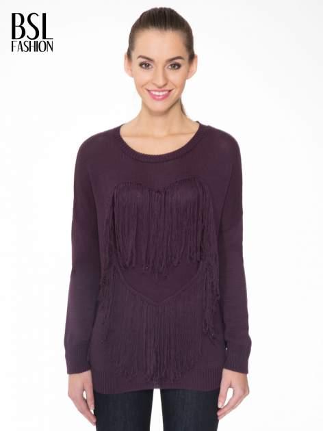 Ciemnofioletowy sweter z sercem obszytym frędzlami                                  zdj.                                  1