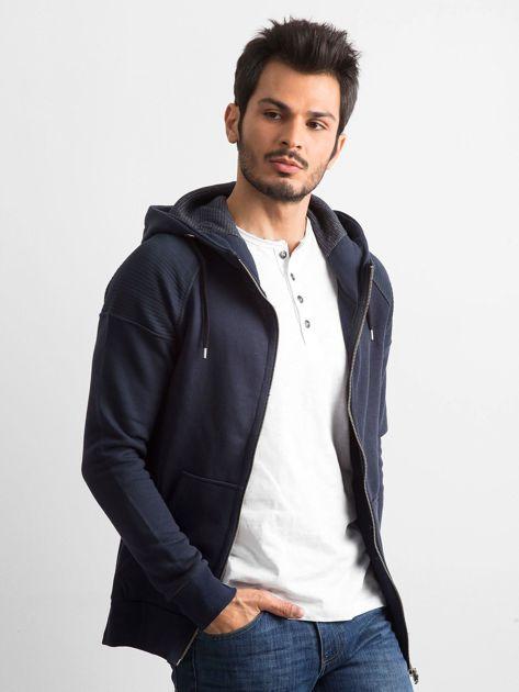 Ciemnogranatowa bawełniana bluza męska z kapturem                              zdj.                              1