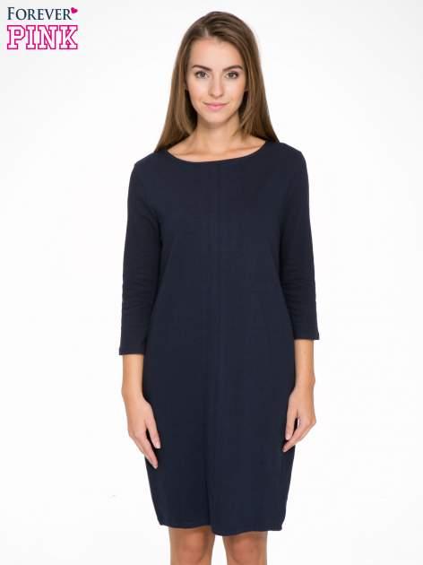 Ciemnogranatowa dresowa sukienka z kieszeniami po bokach