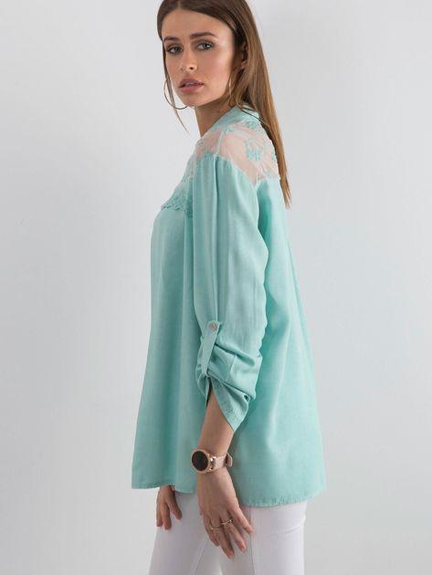 Ciemnomiętowa koszula z długim rękawem                               zdj.                              3