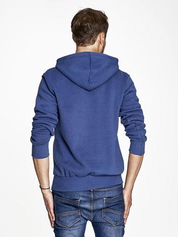 Ciemnoniebieska bluza męska z kapturem z napisem DANGER                                  zdj.                                  2