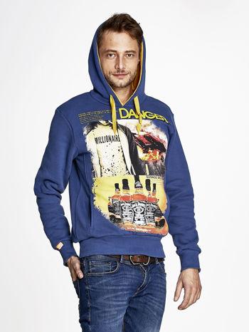 Ciemnoniebieska bluza męska z kapturem z napisem DANGER                                  zdj.                                  5