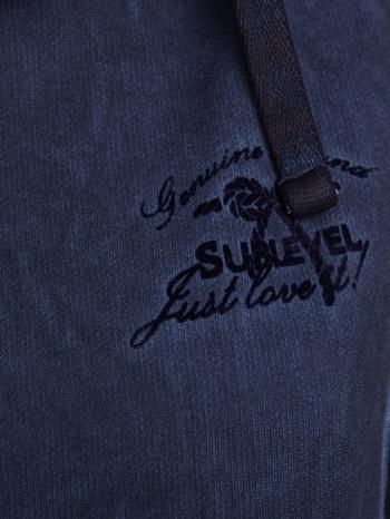 Ciemnoniebieska bluza z kapturem z efektem sprania                                  zdj.                                  4