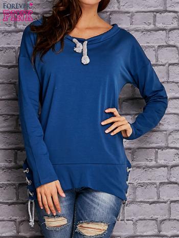 Ciemnoniebieska bluza z wiązaniami                                   zdj.                                  1