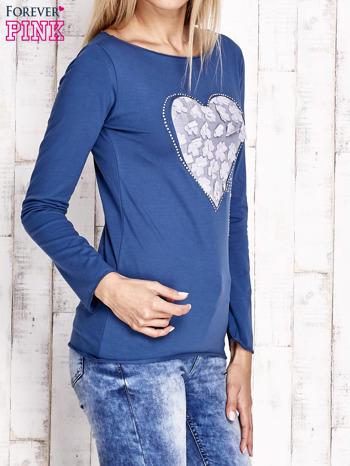 Ciemnoniebieska bluzka z materiałową wstawką                              zdj.                              3